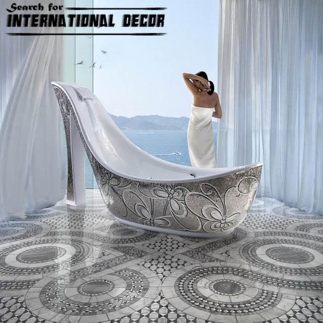 mosaic tile, mosaic tiles, contemporary bathtub