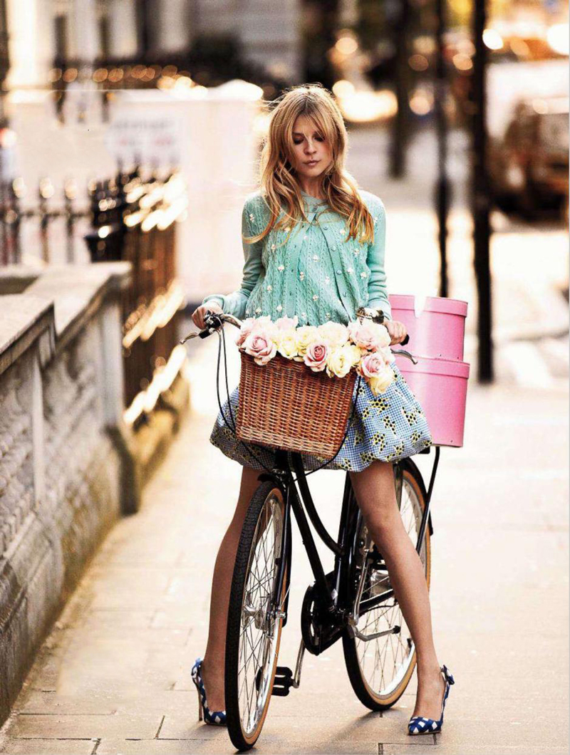 Clemence Poesy photographed by David Oldham for Glamour UK February 2012 / bicycles in Vogue, Harper's Bazaar, Marie Claire, Elle fashion editorials and campaigns / via fashioned by love british fashion blog