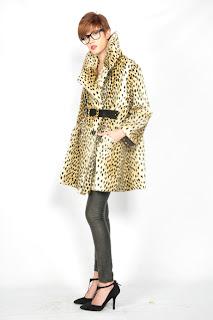 Vintage 1960's faux fur leopard print mini pea coat.