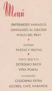 Detalles del menú del homenaje a Juan U. Bäbler Martí