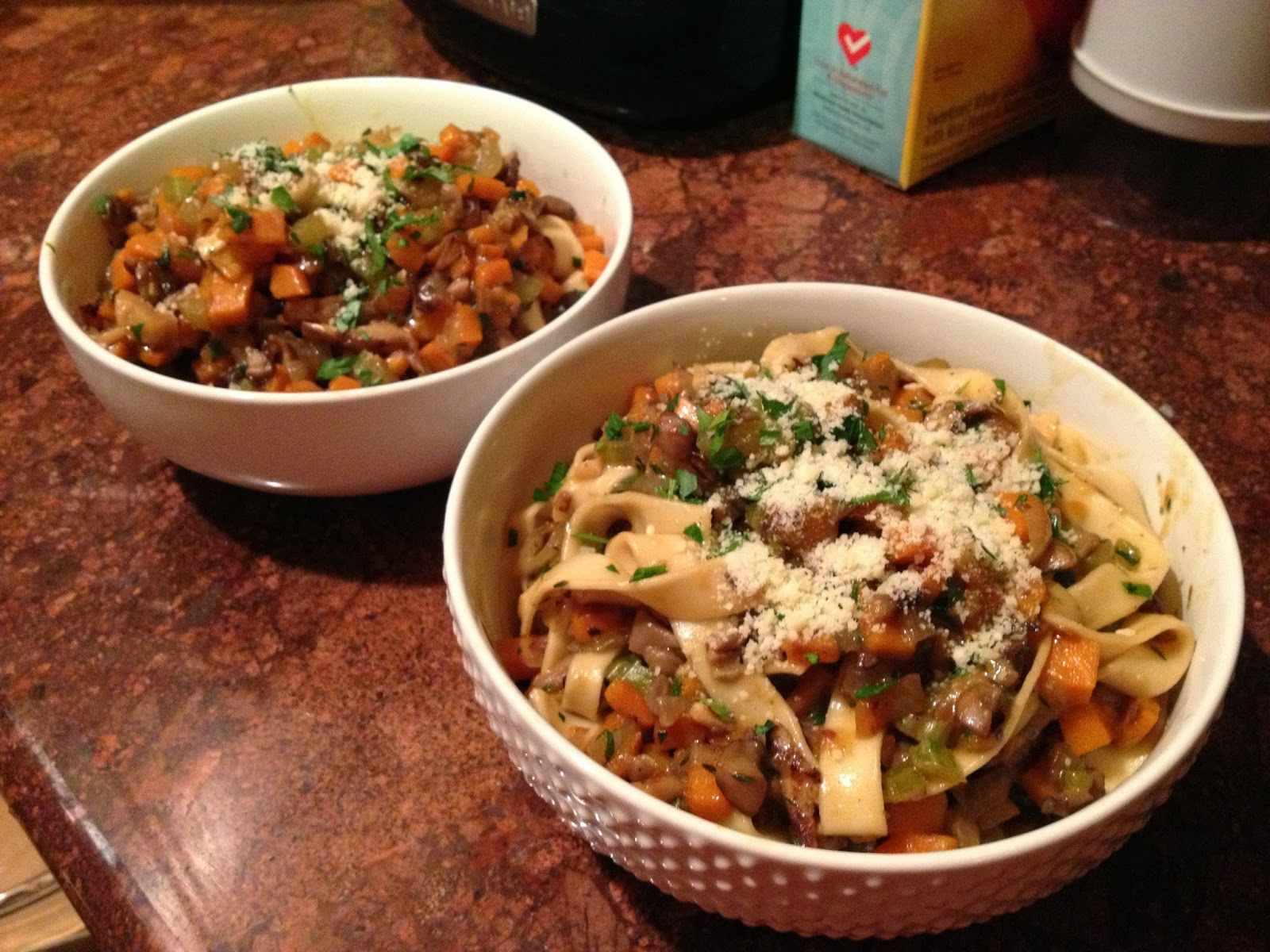 Blue apron vegetarian - Fetucelle With Wild Mushroom Bolognese So Good I Ate Way More Than I Should Have I Was Full For Days Lol I Love How They Give Us Fresh Pasta For Any