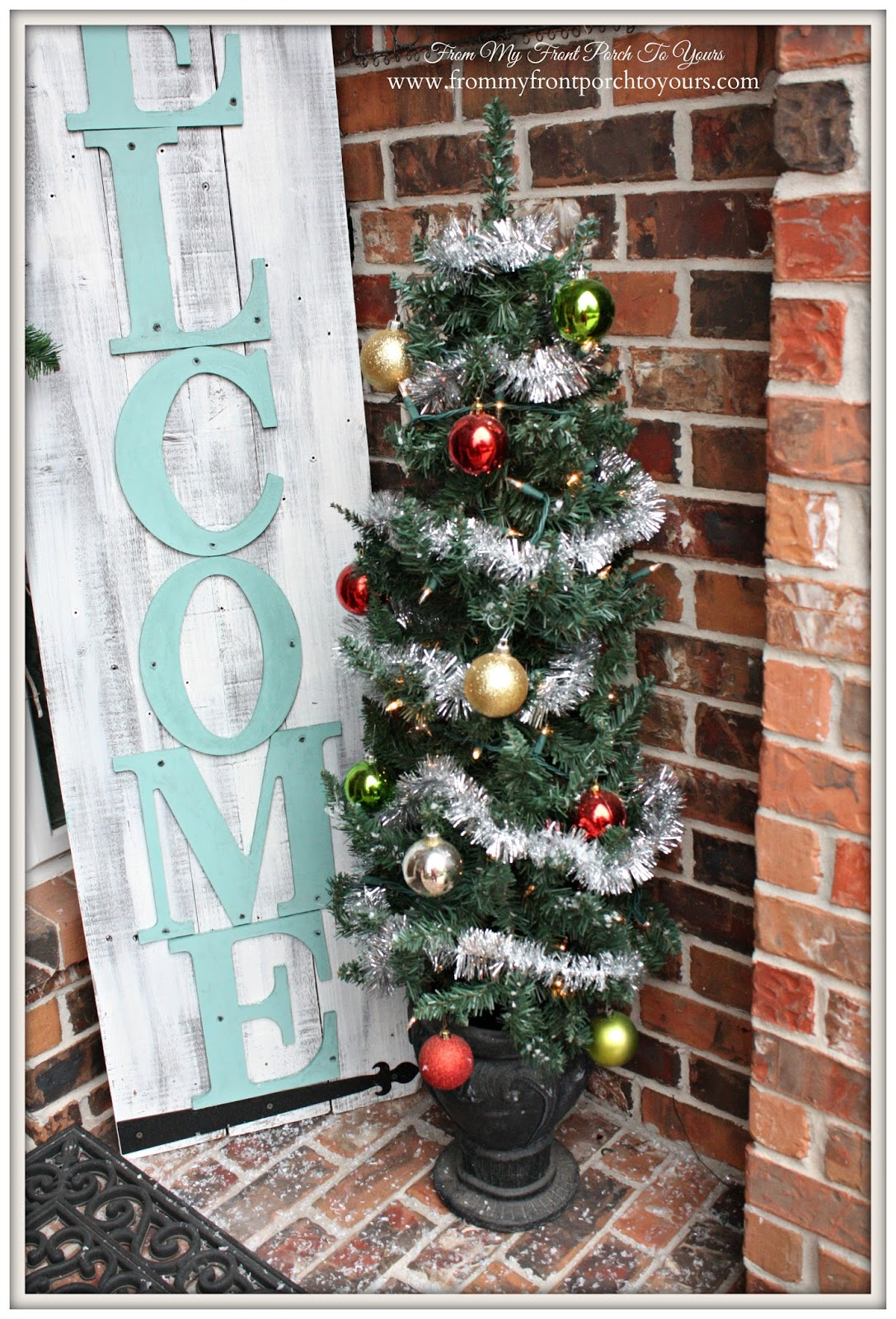 Tinsel Garland-Simple Vintage Christmas Front Porch- From My Front Porch To Yours