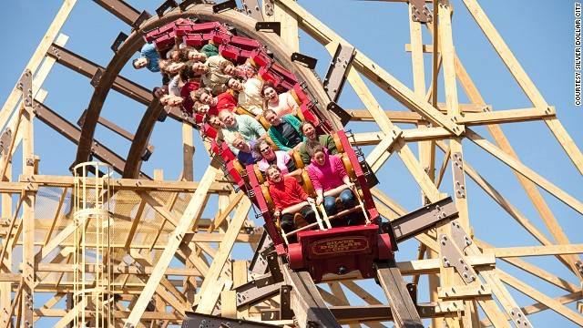 This Silver Dollar City coaster offers a nearly vertical ride. Made with 450,000 board feet of lumber, it's the first wooden coaster to feature a double barrel roll and three inversions.