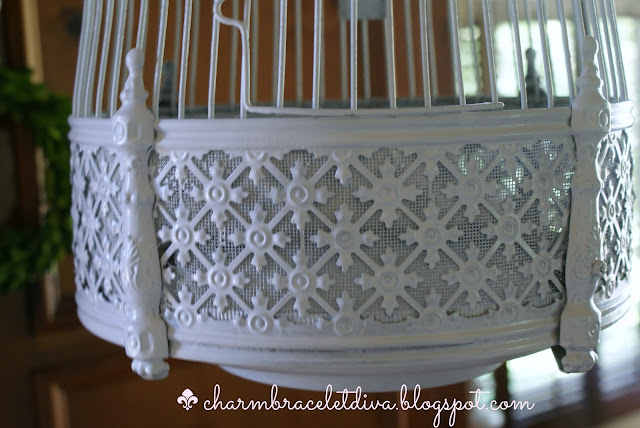 vintage brass bird cage makeover-painted white
