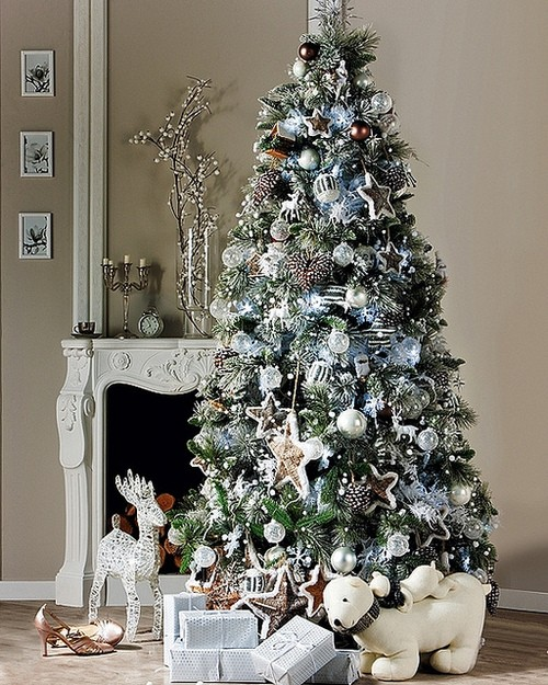 10 christmas color schemes christmas decoration ideas - White and black christmas tree ...