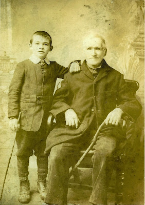 Martin Gillan and grandson Martin Gillan of Tawnykinaffe, County Mayo, Ireland, c. 1912. Photographed in Castlbar.