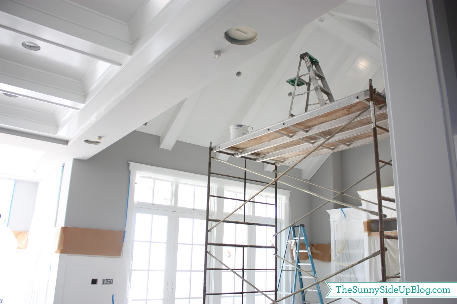 All ceilings I kept white except the formal living room ceiling you see  right when you walk in the house  I chose a darker grey for inside the box  beam. Paint Progress    The Sunny Side Up Blog