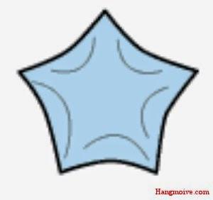 Bươc 7: Bạn làm tương tự với các cạnh còn lại của ngũ giác bạn sẽ có một ngôi sao hoàn chỉnh rồi đó.