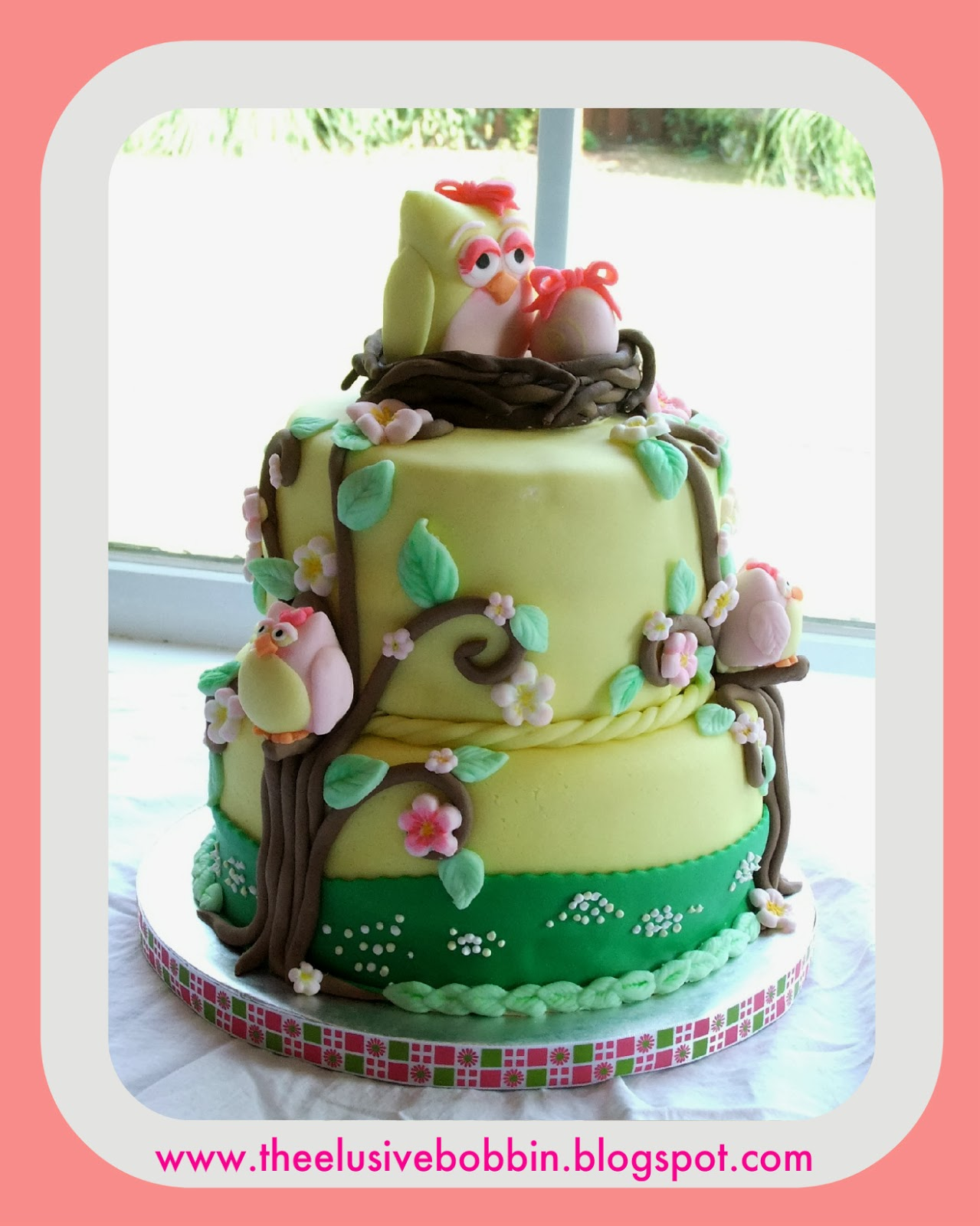 The Elusive Bobbin Owl Themed Baby Shower Cake