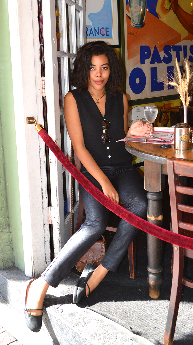 Fashion Blogger Anais Alexandre of Down to Stars at Le Bouchon du Grove in Coconut Grove Florida in a vintage top, Jolt leather pants, Urban Outfitter maryjanes and American Apparel vintage sunglasses
