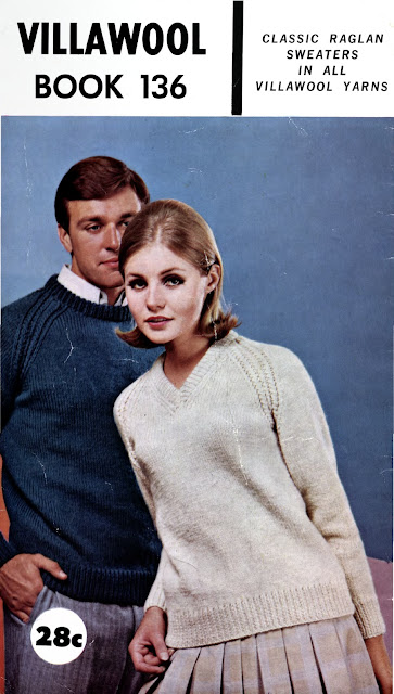 The Vintage Pattern Files Free 1960's Knitting Patterns - Classic Raglan Sweaters Villawool Book No.136 Download Here Now