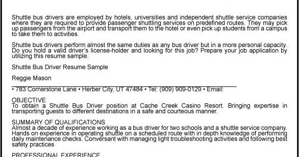 great sample resume  shuttle bus driver resume sample