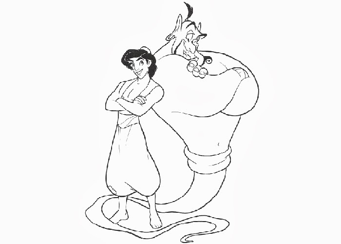 Genie and Aladdin coloring pages | Free Coloring Pages and Coloring ...