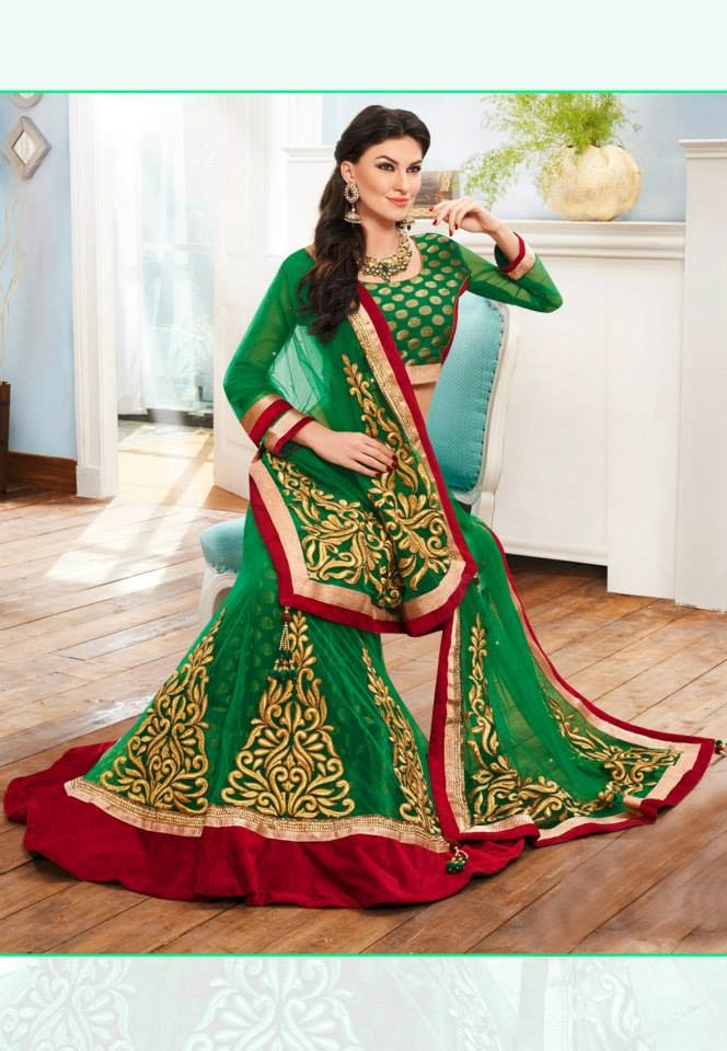 Green Net Lehenga Choli with Dupatta.