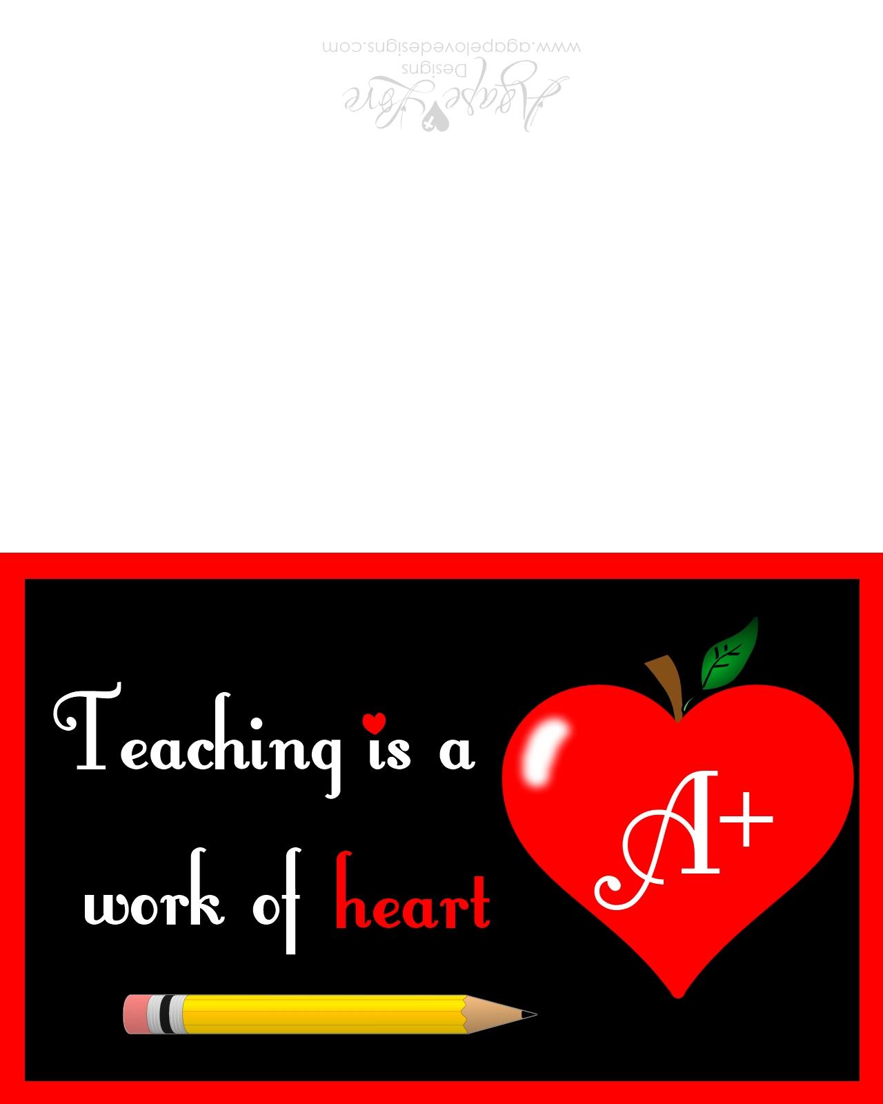 Agape Love Designs A Card For Teachers Free Printable