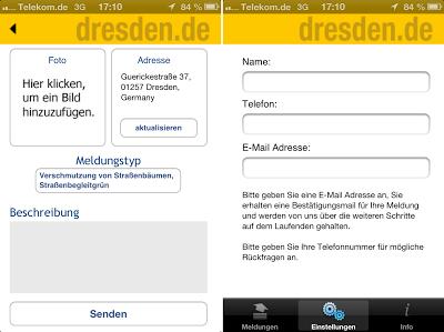 Meldung verfassen und (freiwillige) Eingabe von Name, Telefon und E-Mail Adresse