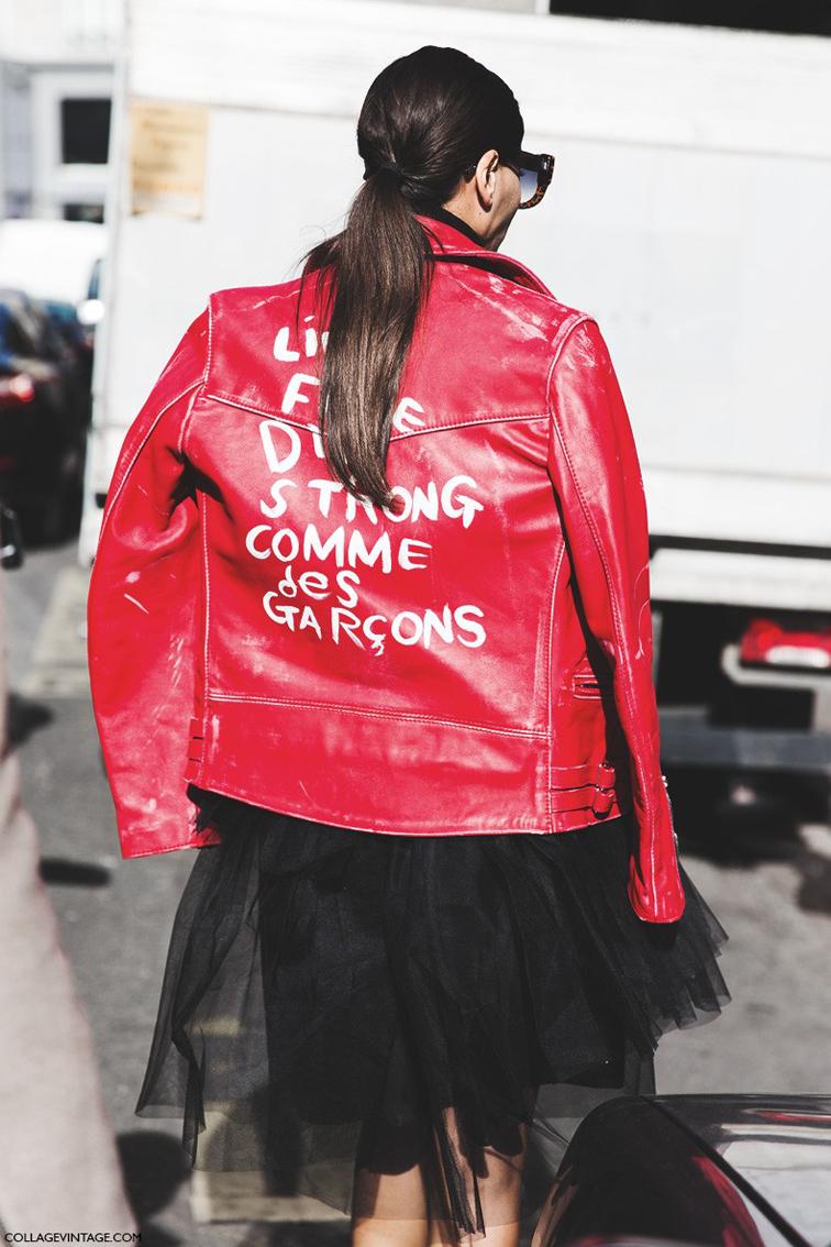 Giovanna Battaglia street style at Paris Fashion Week in a Comme des Garçons red leather biker jacket, by Collage Vintage