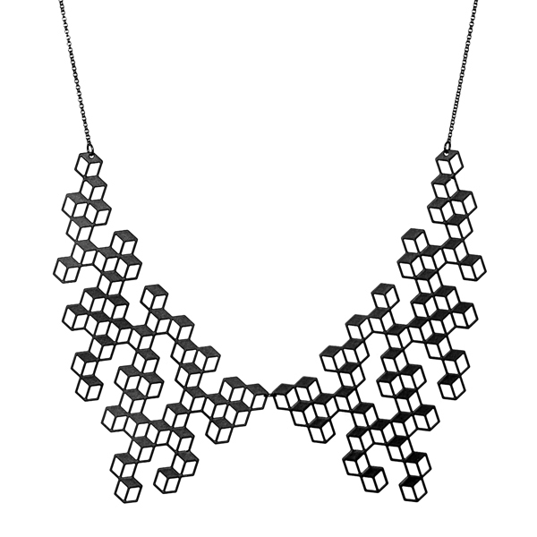 Aroha Silhouettes Aggregate Collar Necklace Black Cube Statement Bold Silhouette