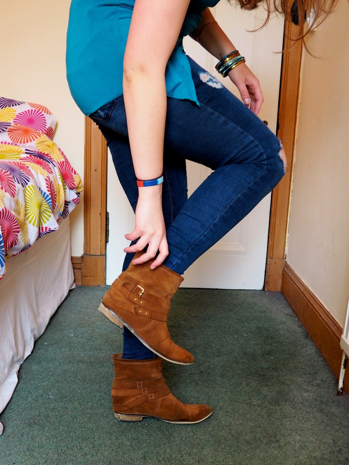 Blue Jeans outfit details   brown suede ankle boots with ripped skinny jeans
