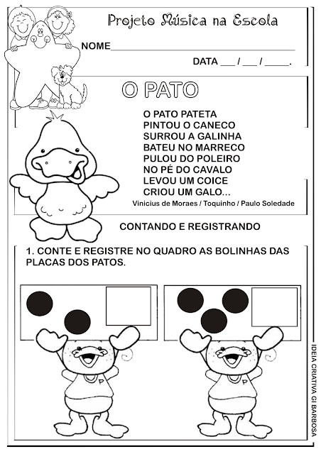 Atividade O Pato Pateta Vinicius de Moraes