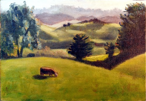 Oil painting of rolling hills framed by trees, with a brown cow in the foreground.