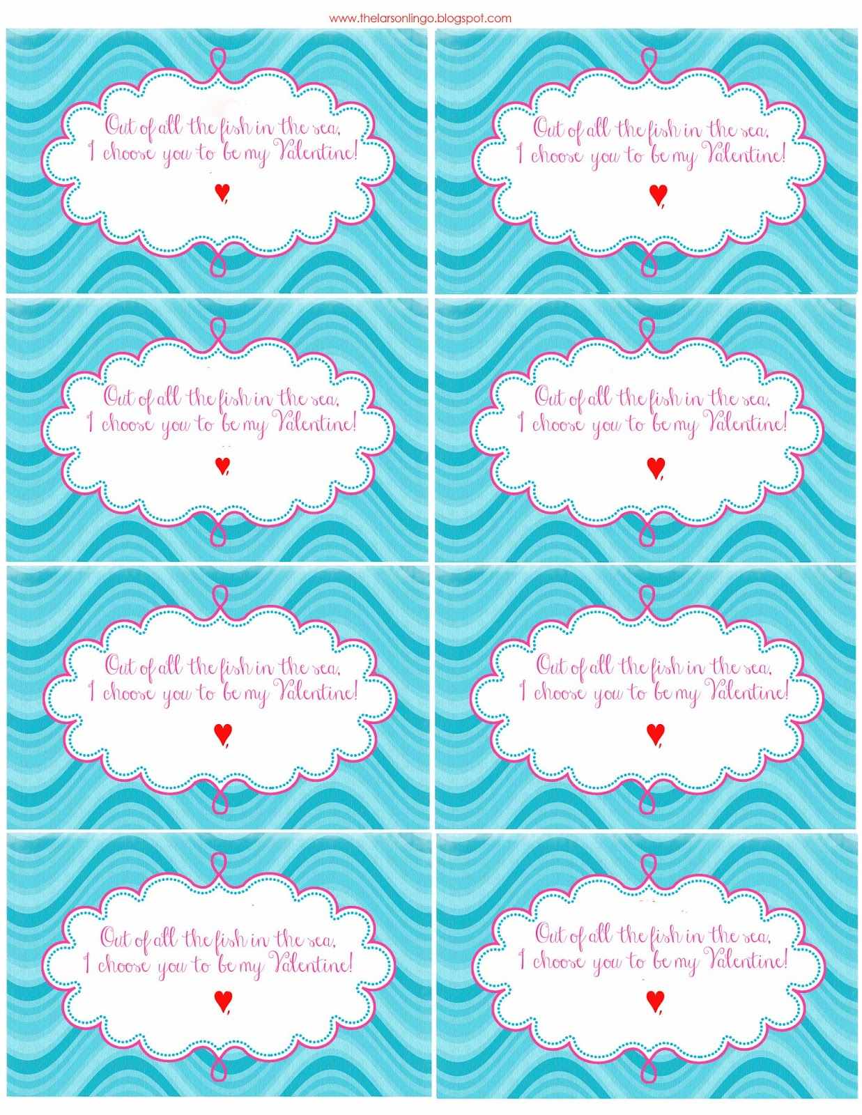 photograph regarding Goldfish Valentine Printable named The Larson Lingo: Fish-y Valentines Totally free Printables
