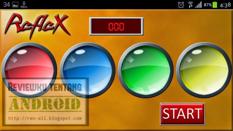 Tampilan utama permainan reflex android untuk mengetes kecepatan gerak reflek + kompetisi online dan offline (rev-all.blogspot.com)