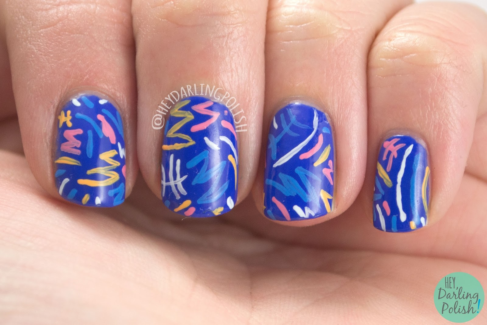 nails, nail art, nail polish, blue, pattern, hey darling polish, fun, 2015 cnt 31 day challenge