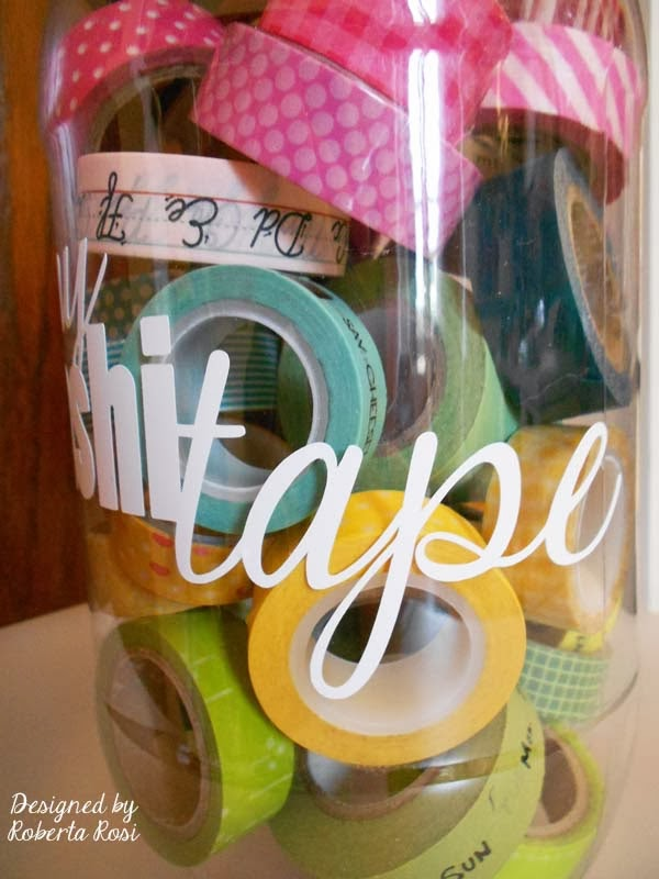 SRM Stickers Blog - Washi Tape Storage by Roberta - #vinyl #oracal #631 #organization #altered