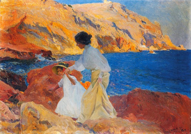 María y Clotilde en las rocas, oleo sobre lienzo