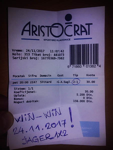 WIN TICKET FROM YESTERDAY/ FRIDAY 24.11.2017