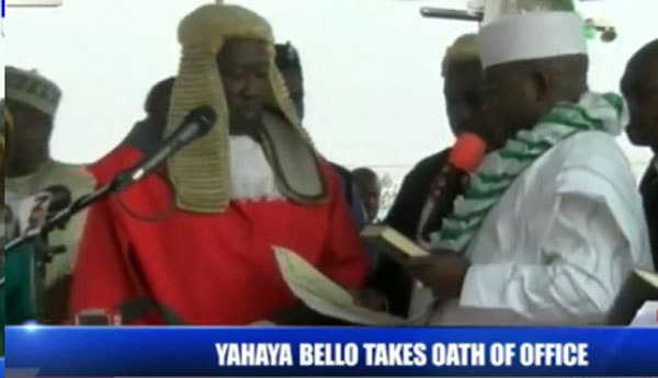 Yahaya Bello Sworn In As Kogi State Governor Without A Deputy