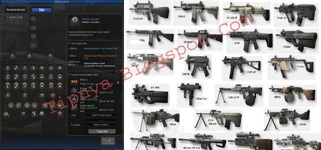 Info Sekilas Senjata, Memasang Title dan Susunan Title Point Blank