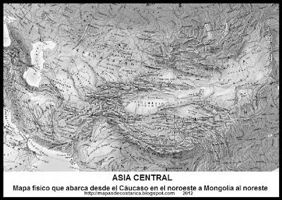 Mapa físico de Asia Central que abarca desde el Cáucaso en el noroeste a Mongolia al noreste, blanco y negro