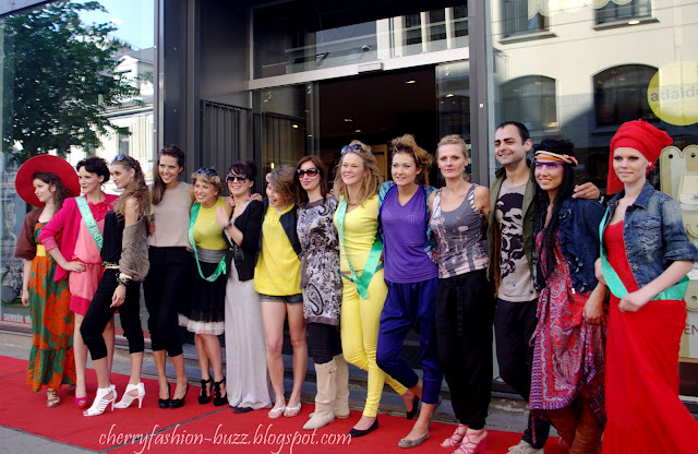 Colorful models at street fashion show