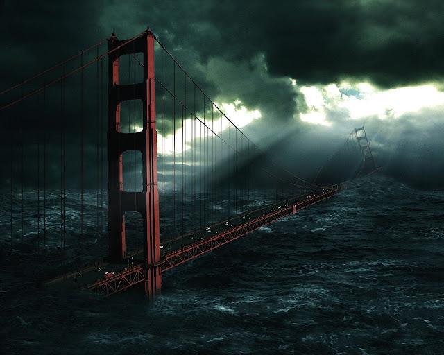 tsunami sobre ponte sao francisco, tsunami nova york, tsunami EUA