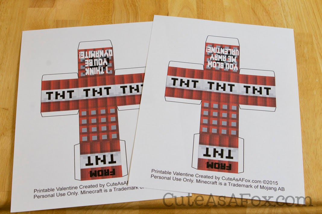 Minecraft Tnt Box Valentines  U2013 Free Printable