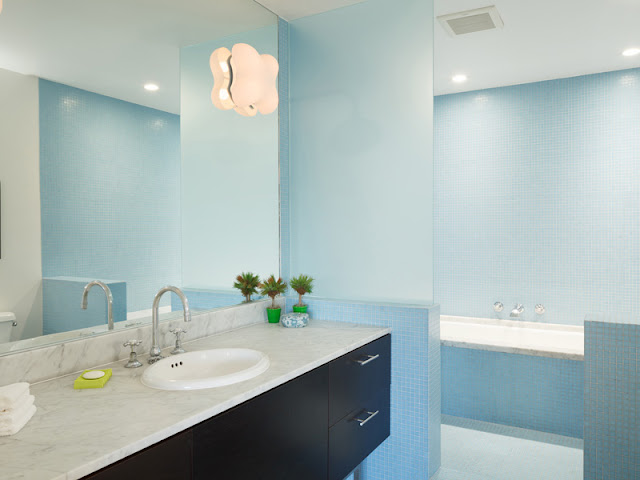 Picture of beautiful soft blue bathroom
