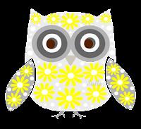 Coruja floral amarela - Criação Blog PNG-Free