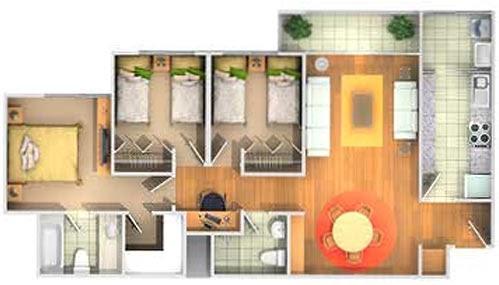 Departamento peque o de 80m2 planos de casas gratis y for Planos de departamentos 3 dormitorios