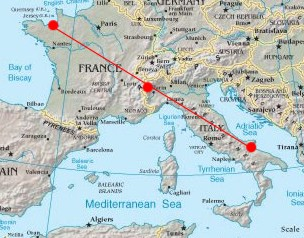 I tre principali santuari dedicati a Michele: Mont Saint Michel (tra Normandia e Bretagna), Sacra di S. Michele in Val di Susa e Monte Sant'angelo sul Gargano