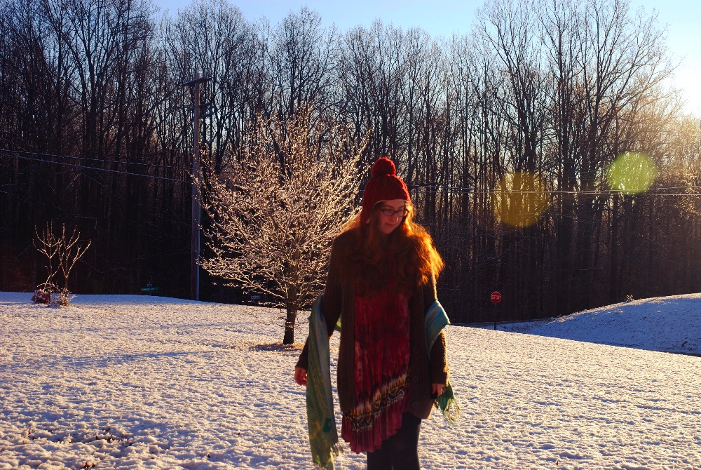 girl snow tree morning light ginger red head