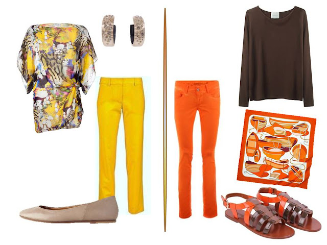 bright yellow pants, and bright orange pants paired with complementary tops and accessories