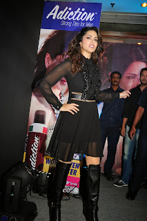 Sunny Keone Launches The Addiction Deo in Juhu Mumbai wearing Spicy Black TOp and Skirt
