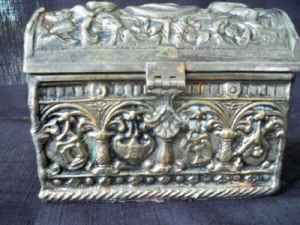 Stunning  us Antique Spanish Colonial Revival Carved Silver Jewelry Box