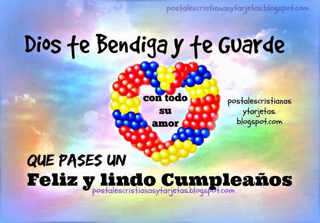 Tarjeta Que pases un Feliz y Lindo Cumpleaños, Dios te Bendiga. Imágenes, postales cristianas de cumple. Mensaje cristiano.