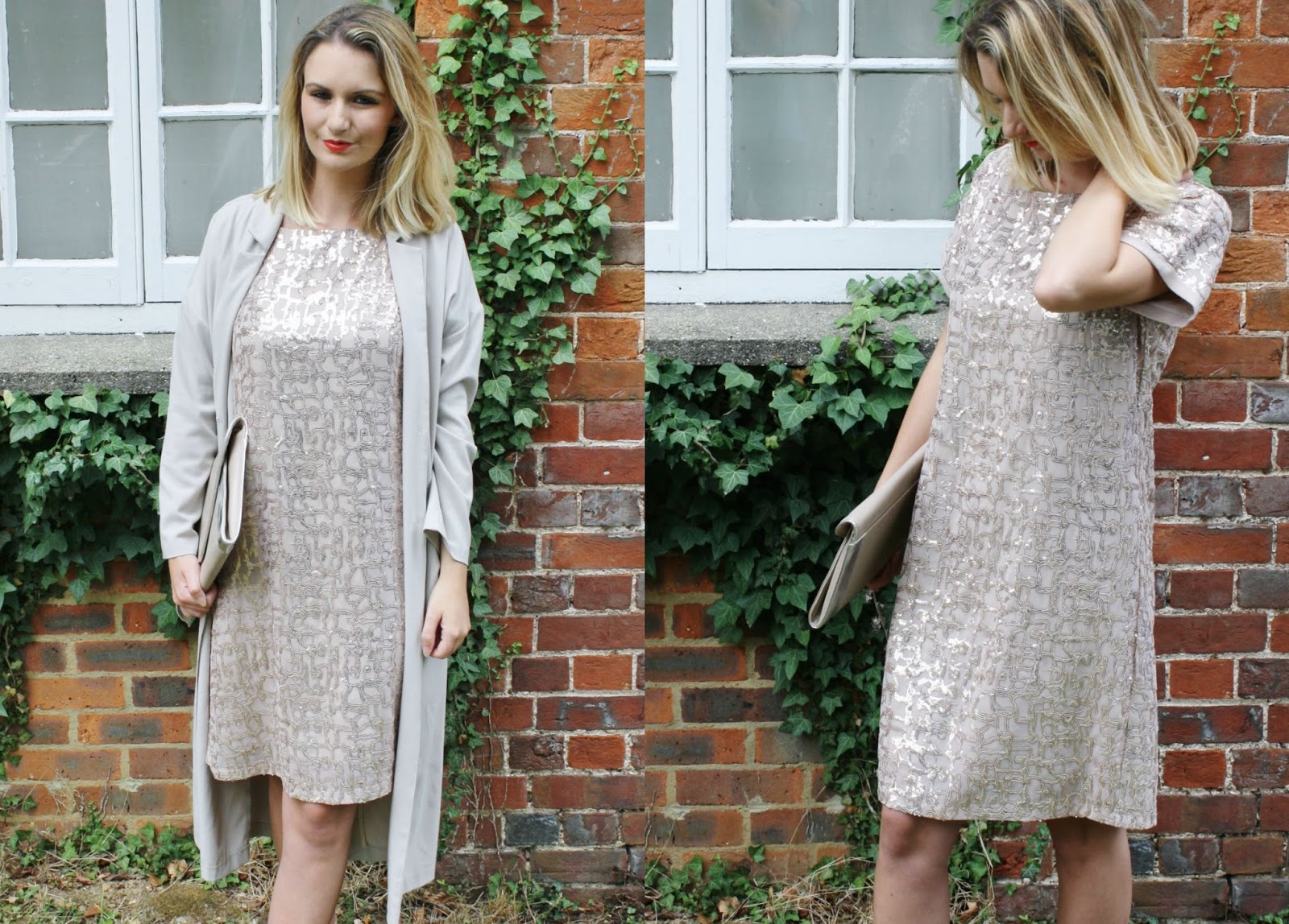 sequin coast dress styled with asos duster jacket