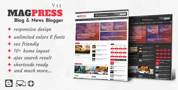 download Magpress - Magazine Responsive Blogger Template
