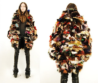 Vintage 1960's multi-colored patchwork fur coat with black satin lining and hook & front closure.