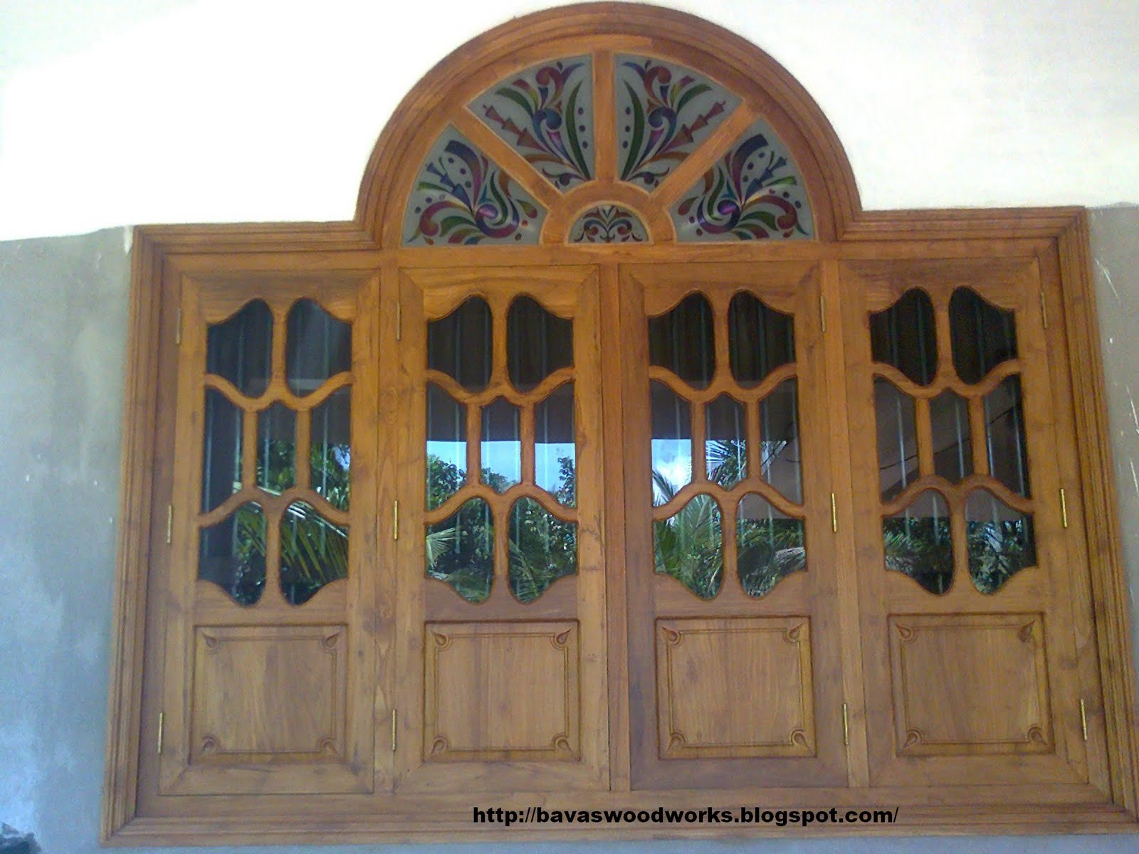 Bavas wood works arched wooden door frame with double for Wood window door design